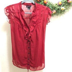 Torrid red polka dot blouse